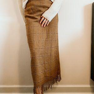 Vtg Camel Tan Window Plaid Wool Tassel Midi Skirt